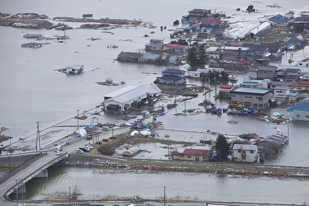 A town in Miyagi prefecture, Japan, devastated by the earthquake and the tsunami on March 11, 2011. Credit: US Navy
