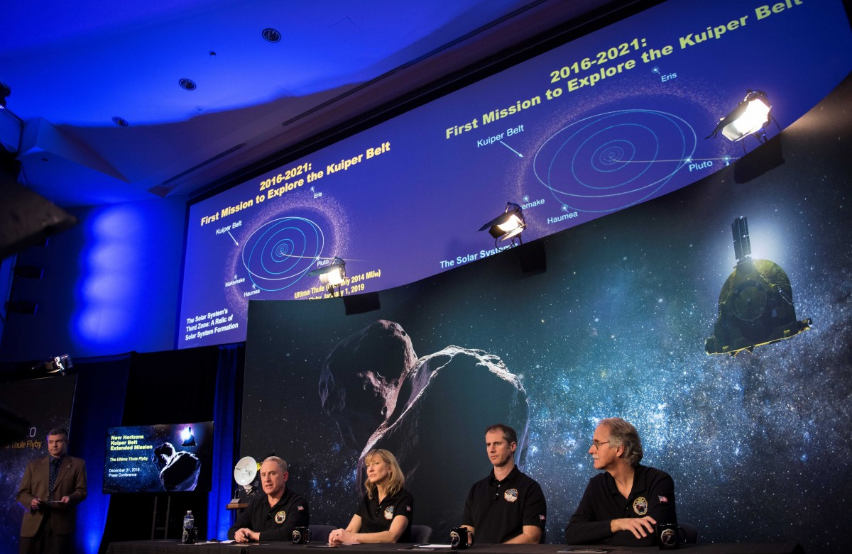 New Horizons principal investigator Alan Stern of the Southwest Research Institute (SwRI), Boulder, CO, New Horizons project manager Helene Winters of the Johns Hopkins University Applied Physics Laboratory, Fred Pelletier, lead of the project navigation team at KinetX Inc. in Simi Valley, California, and New Horizons co-investigator John Spencer of the Southwest Research Institute (SwRI), Boulder, CO, (L-R) are seen during a press conference prior to the flyby of Ultima Thule by the New Horizons spacecraft at the Johns Hopkins University Applied Physics Laboratory (APL) in Laurel, Maryland, U.S. December 31, 2018. Credit: NASA/Joel Kowsky/Handout via REUTERS