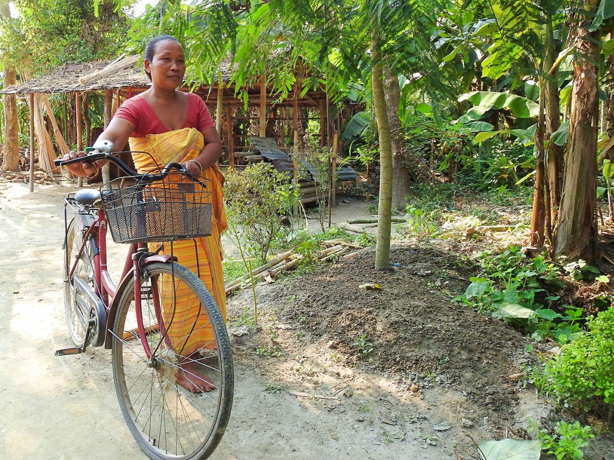 To go to the market and for other errands, she takes her bicycle. Credit: Anne Pinto-Rodrigues/People's Archive of Rural India