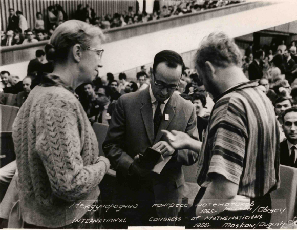 Atiyah (centre) receiving the Fields Medal at the 1966 ICM in Moscow. Credit: Michael Atiyah