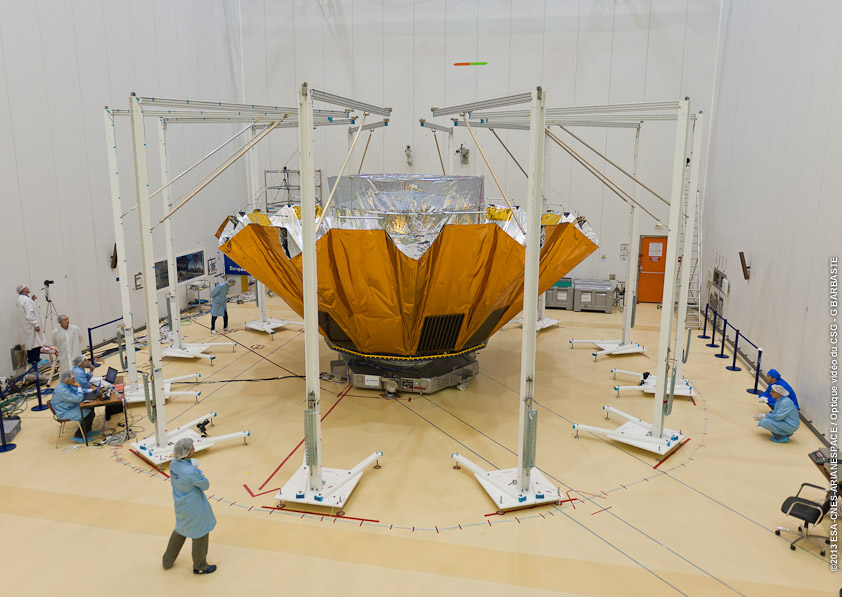 Gaia's sunshield being tested prior to launch. Credit: ESA/CNES/Arianespace