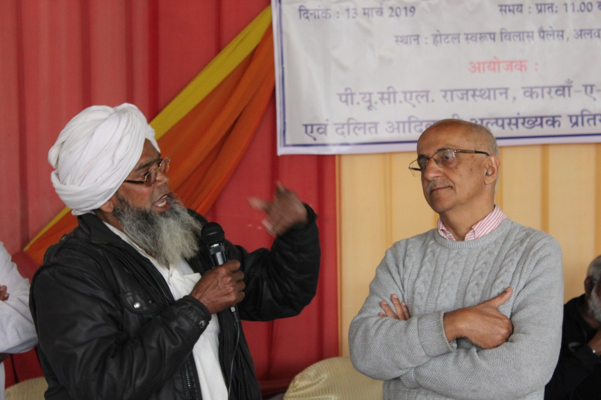 Mohammad Sadiq from Kolgaon speaking at the event. Credit: Shruti Jain