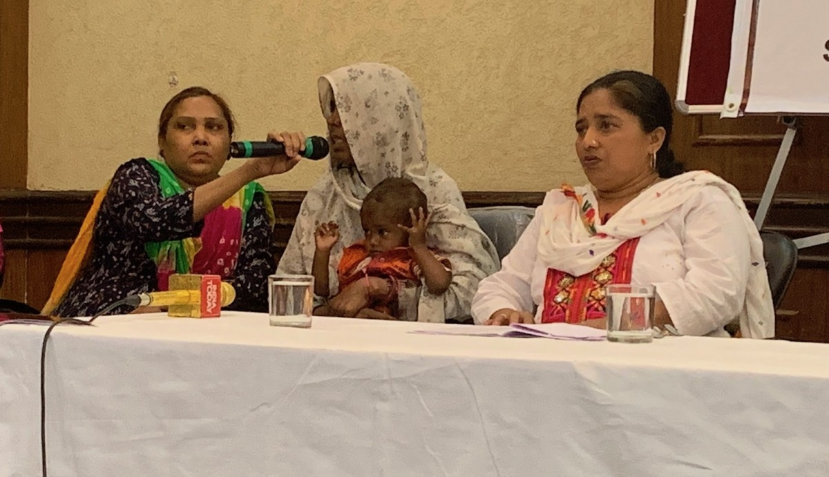 Khurshida, whose husband Umar was killed by a mob for transporting cows in November 2017, speaks at the press conference on 27 March, 2019. Credit: The Wire