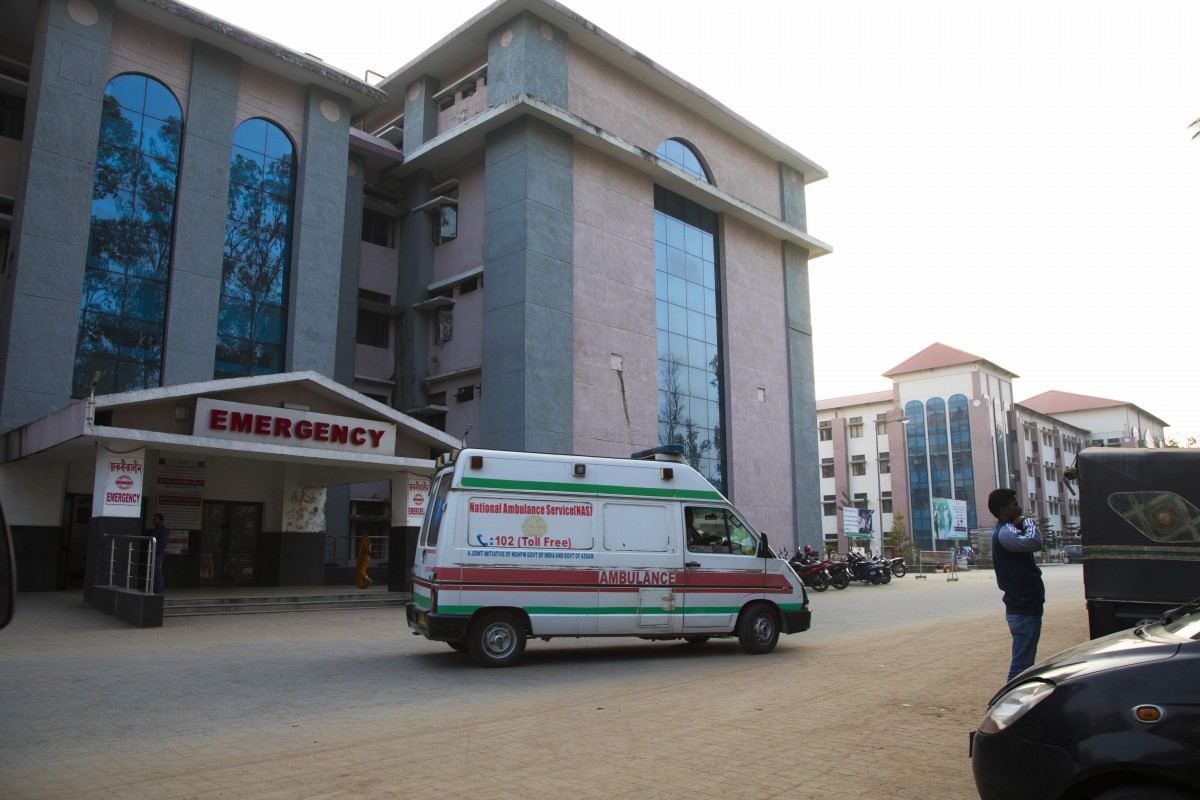 An ambulance standing outside a government hospital in Assam. Credit: Andy Ash and Rajan Zaveri/HELM Studio