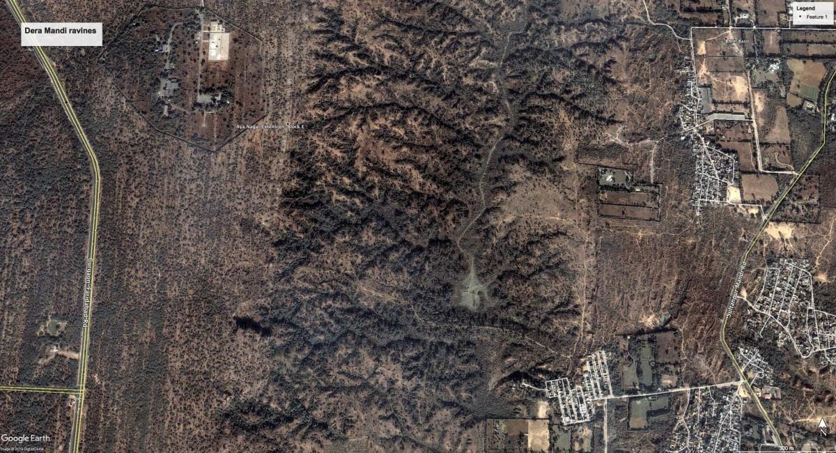 Dera Mandi ravines. Credit: Google Maps
