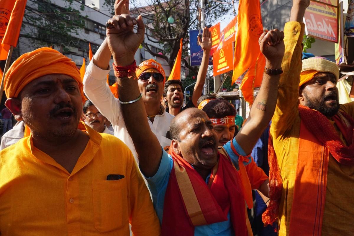 A VHP activist at the Ramnavami procession. Credit: Shome Basu