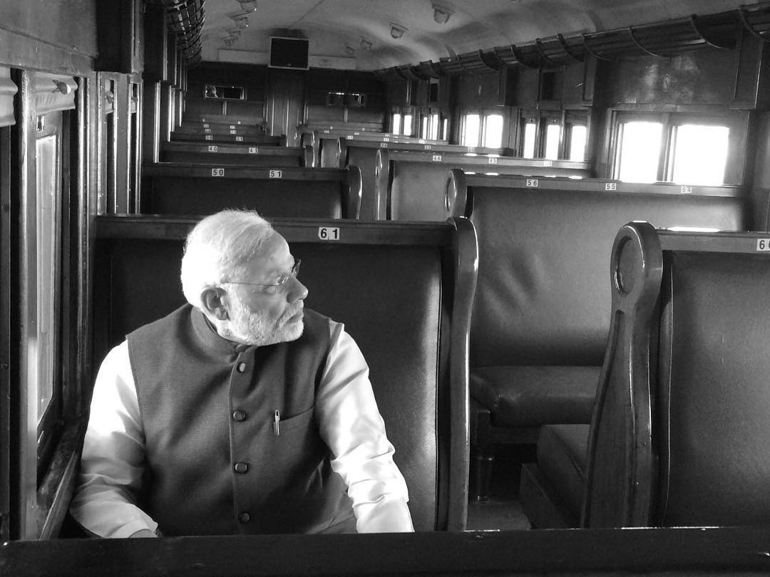 PM Modi travels from Pentrich Railway Station to Pietermaritzburg in South Africa. Credit: narendramodi/Twitter