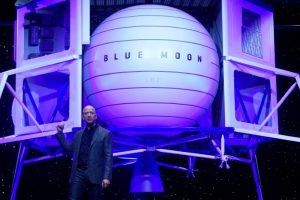 Jeff Bezos Unveils Moon Lander Mockup, Embraces Trump's Lunar Timetable