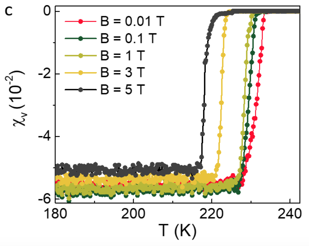 The variation of volume magnetic susceptibility of pellet P11117PE0_01 with temperature at different external magnetic fields (B). Caption and source: arXiv:1807.08572v2