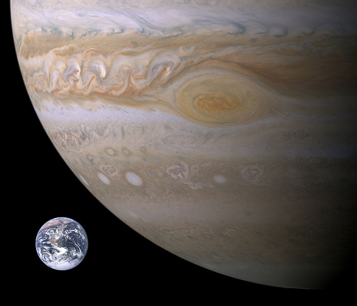 Jupiter's Great Red Spot compared to Earth. Jupiter's image captured by Cassini spacecraft in 2006. Credit: Brain0918/NASA