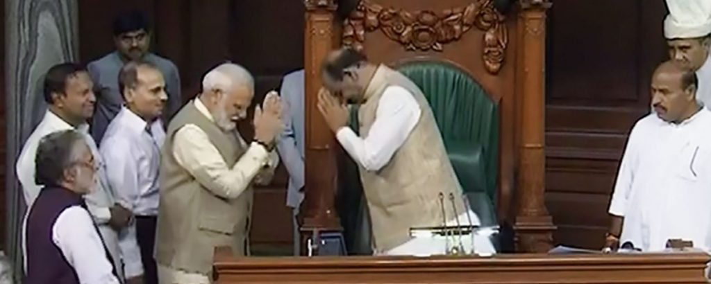 Prime Minister Narendra Modi greets BJP MP from Kota Om Birla after he was elected as the Speaker of the 17th Lok Sabha on Wednesday, June 19. Photo: LSTV Grab/PTI