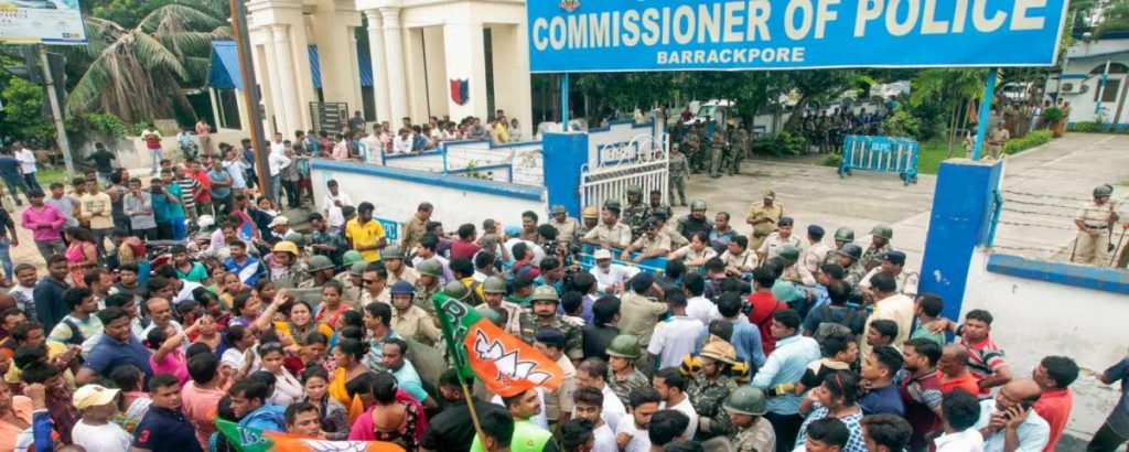 BJP activists agitate in front of the Barrackpore office Commissioner of Police, in North 24 Pargana on June 21. Two people were killed and three others suffered severe injuries in clashes between BJP and TMC workers in the Bengal town. PTI