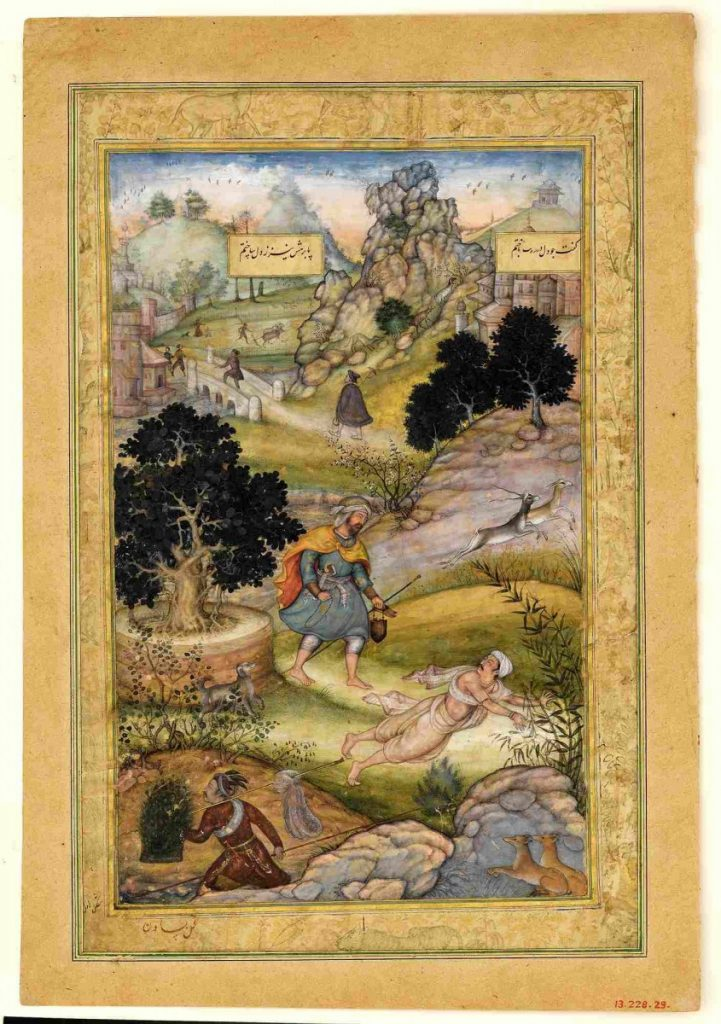 In this folio from a quintet by Amir Khusrow, a Muslim pilgrim learns a lesson in piety from a Brahman. Photo: Wikimedia Commons