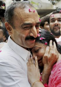 In this file photo dated October 17, 2011, suspended IPS officer Sanjiv Bhatt hugs his wife Shweta after his release from Sabarmati Central Jail in Ahmedabad. Photo: PTI
