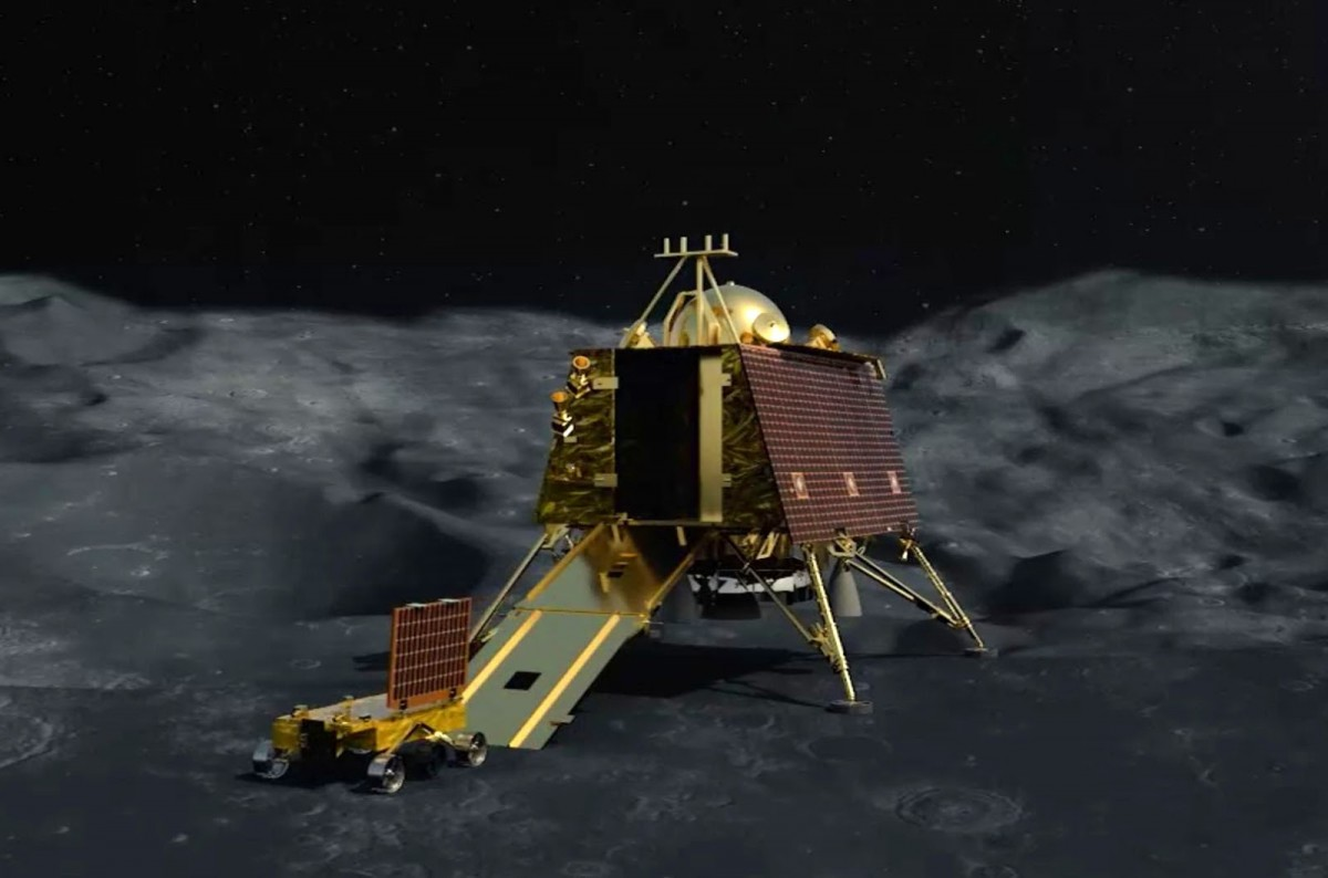 An artist's impression of Chandrayaan 2's Vikram lander deploying the Pragyan rover on the lunar surface. Image: ISRO