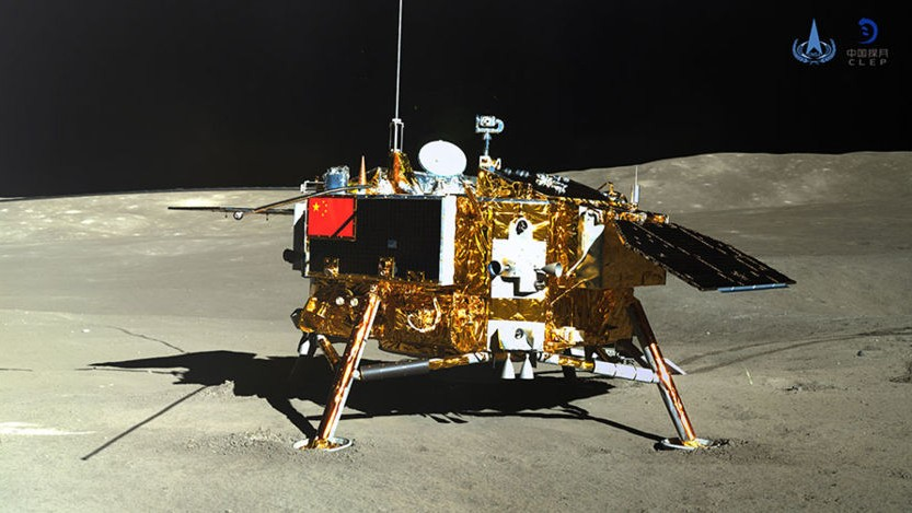 Chang'e 4 lander on the far side of the Moon, as imaged by the Yutu 2 rover. Photo: CNSA