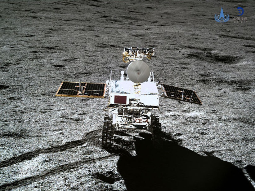 Yutu 2 rover on the far side of the Moon, as imaged by the Chang'e 4 lander. Photo: CNSA