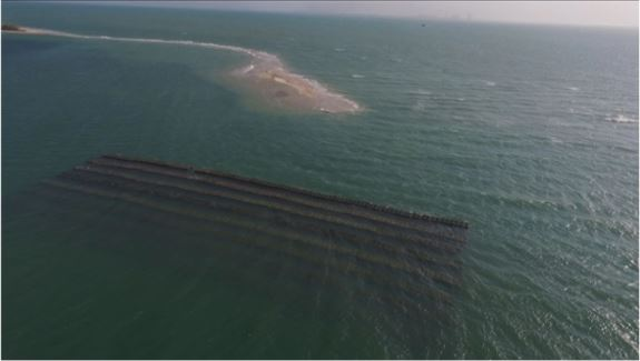 Artificial reefs deployed along the seaward side of Vaan island to soften the blow of strong waves and currents on the shore. Photo: India Science Wire