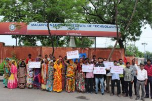 Contractual Housekeeping Staff at Jaipur's MNIT Protest Sudden Termination