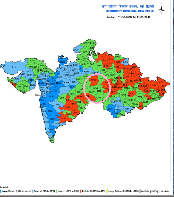 Relative rainfall in Chhindwara and Nagpur between June 1 and August 11, 2019. Credit: IMD