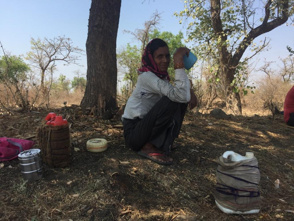 Shevantabai Suryabhan Kinake drinking some water. Photo: Vandana K