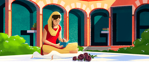 The Google Doodle on the occasion of Amrita Pritam's 100th birthday.