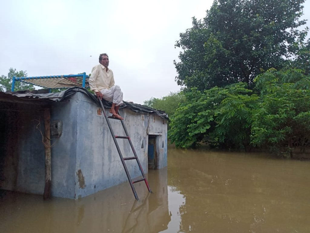 A man sits on top of his house waiting to be rescued in Semalda village. Photo: Narmada Bachao Andolan