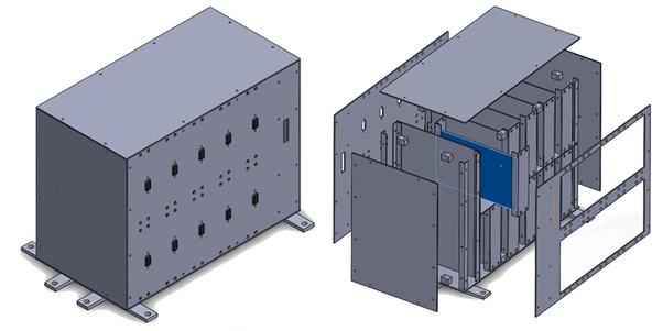 Vue schématique du châssis SpaceShare. L'image à droite montre comment les charges utiles seront empilées à l'intérieur de la boîte. Photo: Satellize