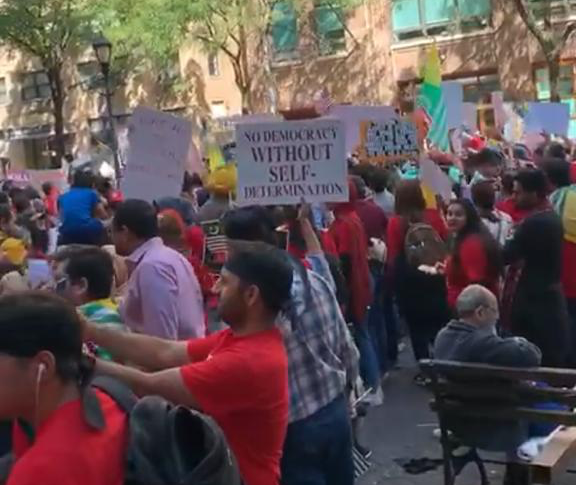 Thousands Protested Outside UNGA in New York During Narendra Modi's Speech