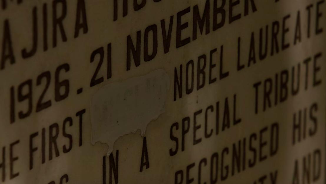 A screenshot from 'Salam' showing Abdus Salam's gravestone. Source: Netflix