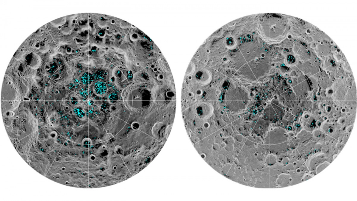 Distribution of water ice on the lunar poles mapped by Chandrayaan 1 instrument M3. Photo: NASA