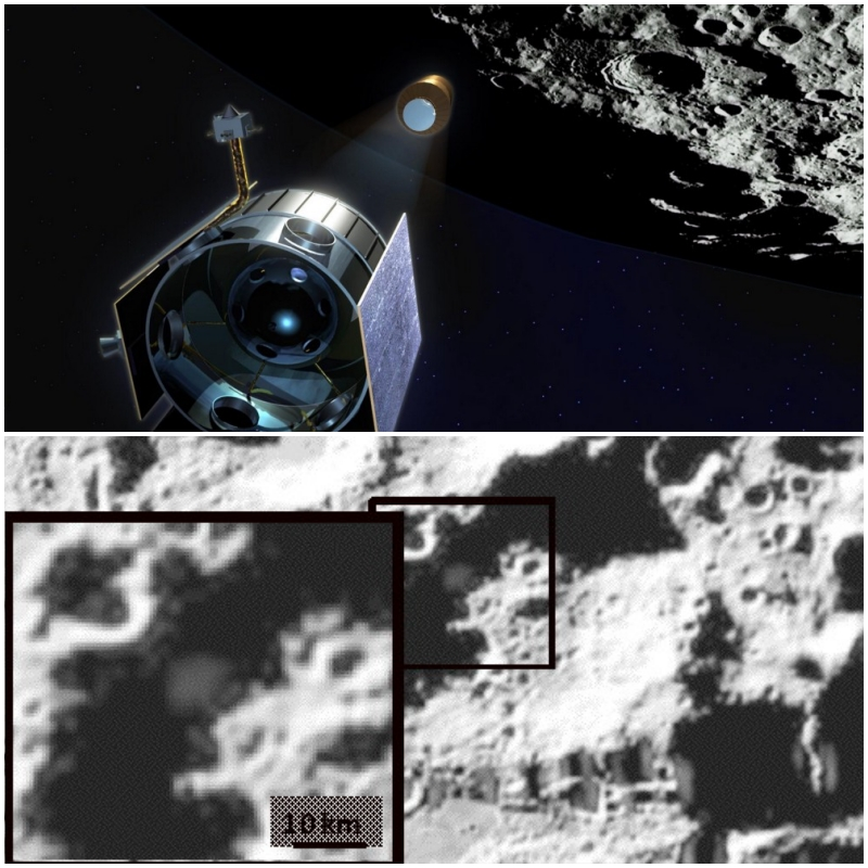 Top: An artist's rendering of LCROSS observing its upper stage en route to impact the Moon in 2009. Bottom: LCROSS camera showing the ejected plume post-impact, which included water. Photos: NASA