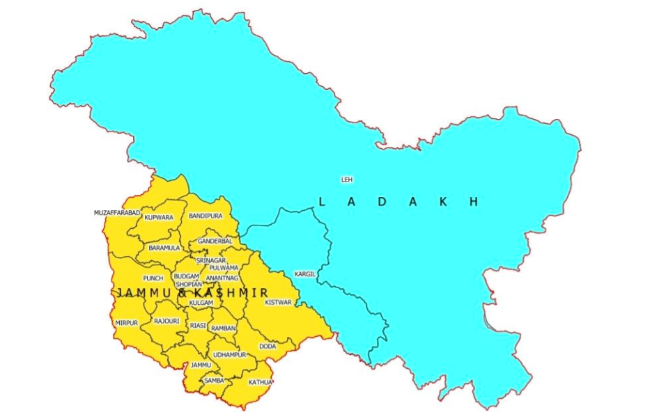 PoK in Union Territory of J&K, Gilgit-Baltistan in Ladakh in Newly Released Map of India