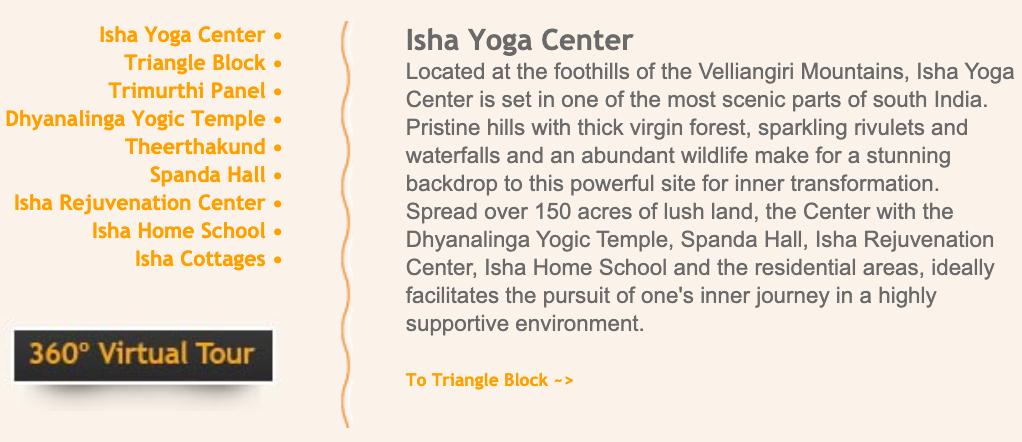 A screenshot from the Isha Foundation website.