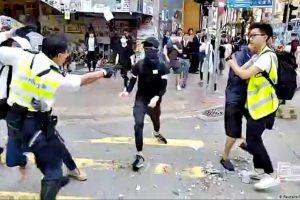 Hong Kong Police Shoot Man During Morning Protests