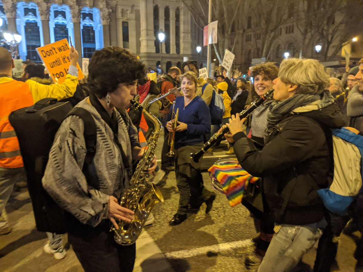 Protestors played music at the climate march in Madrid, December 6, 2019. Photo: Kabir Agarwal
