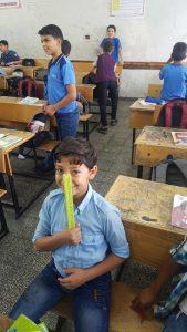 Palestinian children in a classroom in Rafah, in October 2019. Photo: Mohammed M. El Haj-Ahmed
