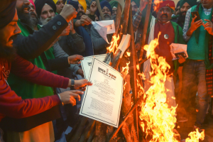 On Delhi's Borders, Protesters Made a Lohri Bonfire Out of Copies of Central Farm Laws