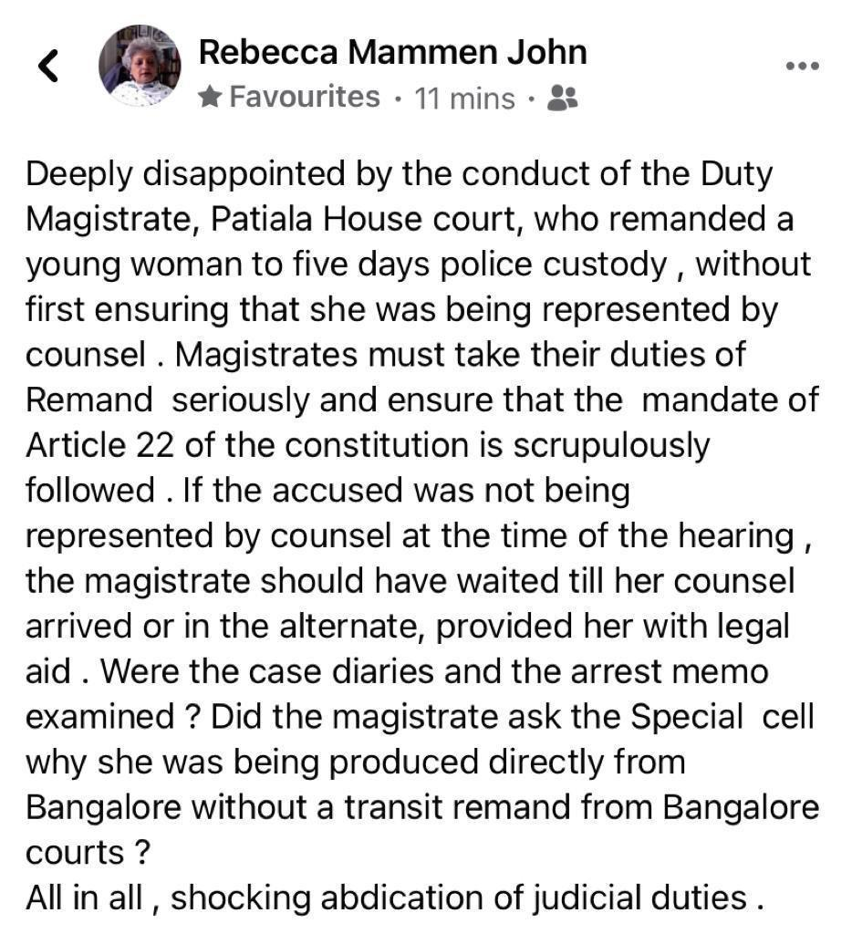 Facebook post by lawyer Rebecca John